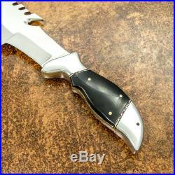 1-of-a Kind Custom Handmade D-2 Tool Steel Bull Horn Tracker Knife With Sheath