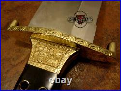 1-of-a Kind Custom Handmade D2 Tool Steel Engraved Hunting Big Bowie With Sheath