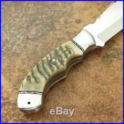 1-of-a Kind Custom Made D2 Tool Steel Ram Horn Tracker Knife With Leather Sheath