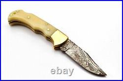 100Pcs Of Lot Handmade Damascus Steel Folding Pocket Knife With Bone Handle