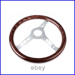 15 38cm Classic Wood Silver Brushed Spoke Steering Wheel with Horn Button