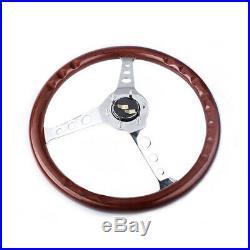 15 38cm Wooden Grain Silver Brushed Spoke Steering Wheel Classic Wood Horn Kit