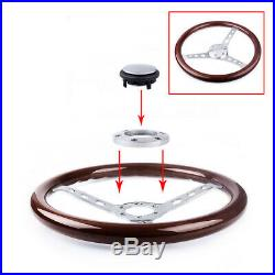 15 Classic Wood Grain Silver Round Hole Brushed Spoke Steering Wheel + Horn Kit