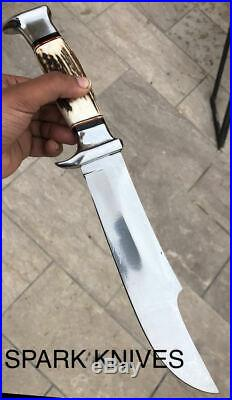 15'' Spark Custom Extreme Survivor Bowie Hunting Knife With Leather Sheath