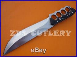 16 Zds Custom Handmade D-2 Tool Steel Bull Horn Hunting Bowie Knife With Sheath