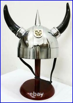 16 gauge New Viking Helmet with Horns Medieval Armor Halloween Costume Helmet