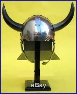 16 gauge WARRIOR HELMET WITH ORIGINAL HORNS MEDIEVAL KNIGHT CRUSADER ARMOR