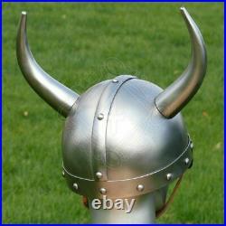 18 gauge Steel Medieval Knight Fantasy Viking helmet with metal horns Halloween