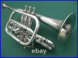 1890 John Heald Cornet Springfield MA with case Vintage Silver Brass Horn