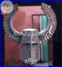 18g Medieval Templar Crusader Knight Armour Helmet With Metal Horn Costume Gift