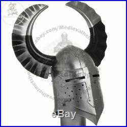 18ga Medieval Armor Templar Crusader Knight Armor Great Helmet With Metal Horn
