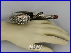 18th century, horn shaped Horn with silver & coral decorations Ottoman islamic