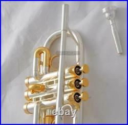 20% Off Eb/D Trumpet Silver/Gold Plated Horn Monel Valves With Case
