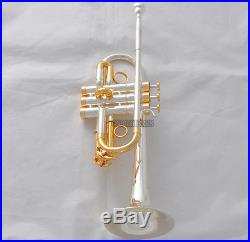 20% Off Professional Eb/D Trumpet Silver/Gold Plated Horn Monel Valves With Case