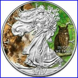 2015 1 Oz Silver Eagle Animals Great Horned Owl Mintage 100 Pcs With Coa