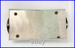 20th Century Contemporary Metal Tray With Black Horn Handles