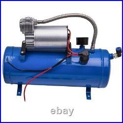 4 Trumpet Air Horn 12V Compressor Kit Blue Tank Gauge for Car Train Truck 150db
