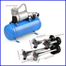 4 Trumpet Vehicle Air Horn 120PSI with 12V Compressor & Hose 150dB Train Kit Set