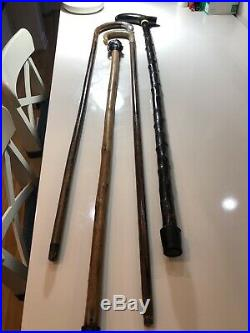4x Antique Walking Canes Sticks 2 With Silver, 2 Horns, & 1 Bronze Head Of Dante