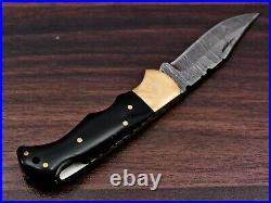 50Pcs Of Lot Handmade Damascus Steel Folding Pocket Knife With Black Horn Handle