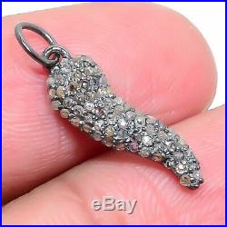 925 Sterling Silver Horn Pendent Studded With Natural Pave Diamond Jewelry ED