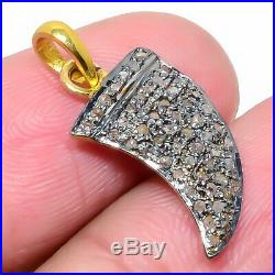 925 Sterling Silver Horn Pendent Studded With Natural Pave Diamond Jewelry UT