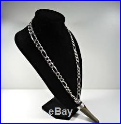 925 Sterling Silver Men's Chain Horn With Silver Around the Horn 117 GRAMS