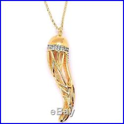925 Sterling Silver Yellow Necklace Big Lucky Horn With Zirconia By Maria Ielpo