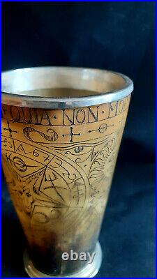 A Magnificent & Unique horn cup with silver fittings dated 1923 Crowley, Satanic