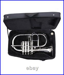 AMAZING Flugel Horn 4 Valve NICKEL Bb Pitch with Hard Case & Mouthpiece By M. J