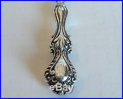 ANTIQUE ENGLISH STERLING SILVER HANDLED SHOE HORN with EMBOSSED DESIGN, c. 1900