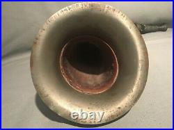 ANTIQUE HUNTING STYLE HORN BUGLE WITH SILVER PLATE MOUNTS PROB SCOTTISH c1880