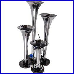 Air Horn 4 Trumpet 12 Volt Compressor 150 dB Train 120 PSI 9.8ft Air Hose New