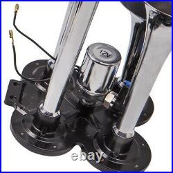 Air Horn 4 Trumpet 12 Volt Compressor 9.8 Feet Hose 150 Db Train 125 Psi Kit