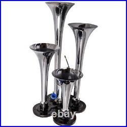 Air Horn 4 Trumpet 12 Volt Compressor 9.8ft Hose 150 dB Train 120 PSI Kit 1.6 G