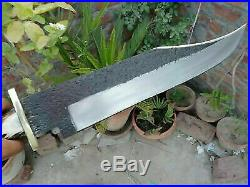 AmazingBlades Custom Handmade Carbon Steel 25In Bowie With Stag Horn Handle