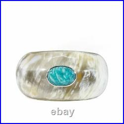 Amazonite 18.3 carat Cabochon on Water Buffalo Horn with Sterling Silver Cuff Br