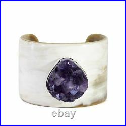 Amethyst 60.91 carat Cluster on Water Buffalo Horn with Sterling Silver Cuff Bra