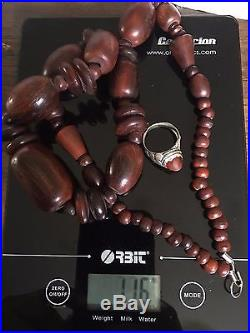 Ancient, rare and gorgeous, special precious Horn bead necklace with Silver ring