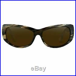 Ann Demeulemeester Sunglasses Cat Eye Horn 925 Silver with Green Lenses AD29C3SU