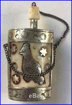 Antike Schnupf Flasche Silber mit Bein Antique snuff bottle Silver with leg horn
