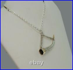 Antique 1906 Gold & Silver Cornucopia Horn Pendant with Chain