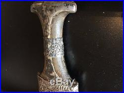 Antique Arab Silver Jambiya With Horn Early 20th Century
