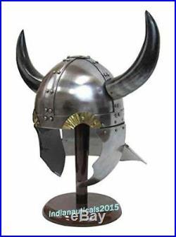 Antique Armor Helmet 18 Gauge Steel Viking Helmet With Buffalo Horns