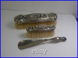 Antique Art Nouveau Era Sterling Silver Ladies Vanity Brush Set with Shoe Horn