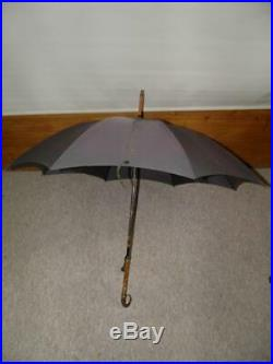 Antique Bottle Green Canopy Umbrella With Bovine Horn & Silver Detail Crook Top