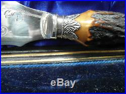 Antique Boxed Silver & Plate Fish Servers With Antler Horn Handles