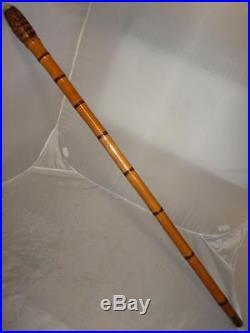 Antique Burr Root Bamboo Cane With Silver Cap Stick-bovine Horn Ferrule