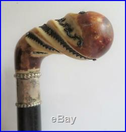 Antique Carved Horn Walking Cane With Sterling Silver