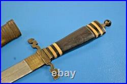 Antique Custom Dagger Knife with Wood Horn Handle & Brass Sheath